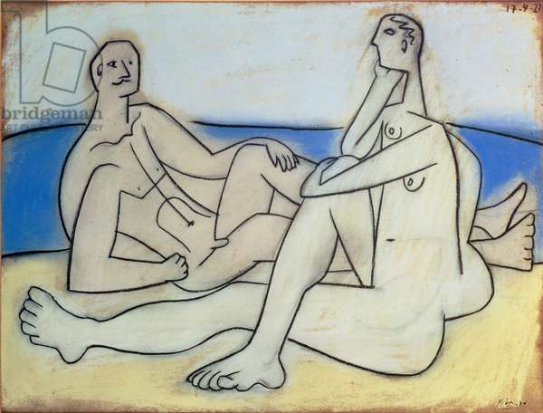 Man and Woman on the Beach, 1921 (pastel on paper)
