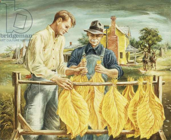 Unstringing Tobacco Leaves,  (oil on masonite)