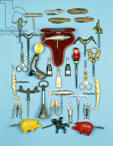 A selection of vintage novelty corkscrews
