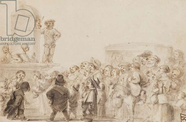 A Group of Dwarfs watching a Puppet show, with a carriage in the background (black chalk, pen and brown ink and grey wash on paper)