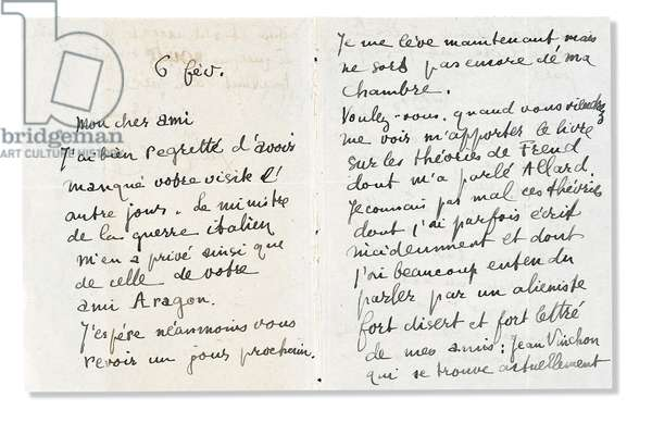 Autograph letter signed to Andre Breton, 6 February 1918 (pen & ink on paper) (see also 2909401)