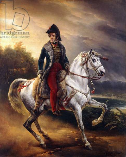 Portrait of Justo Machado y Salcedo, Spanish Consul in Paris on horseback, 1821 (oil on canvas)