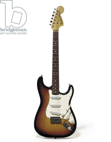 A 1968 Fender Stratocaster in sunburst finish owned by Jimi Hendrix from 1969-70 (mixed media)