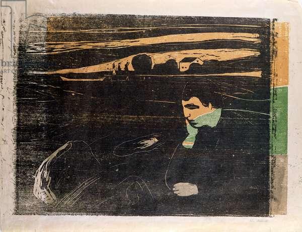 Evening, Melancholy: On the Beach (Abend, Melancholie am Strand)  (woodcut)