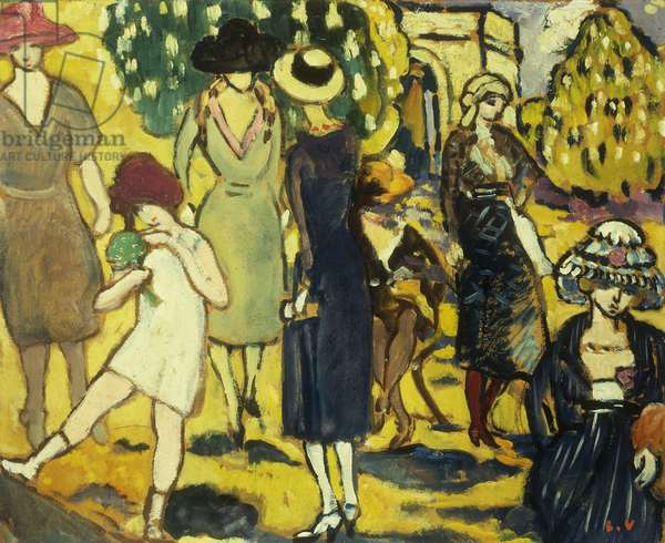 La Promenade a l'Arc de Triomphe, 1919 (oil on panel)