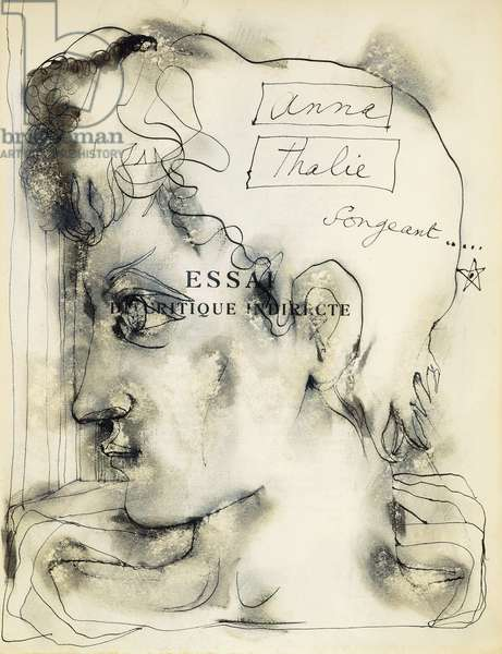 Titlepage from 'The Essay of Indirect Criticism' by Jean Cocteau, Illustrated with a Portrait of a Young Man in Profile, 1932 (ink, watercolour and pastel)