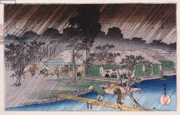 Twilight Shower at Tadasu Bank', from the series 'Famous Places of Kyoto'  Ando Hiroshige (1797-1858) (colour woodblock print)