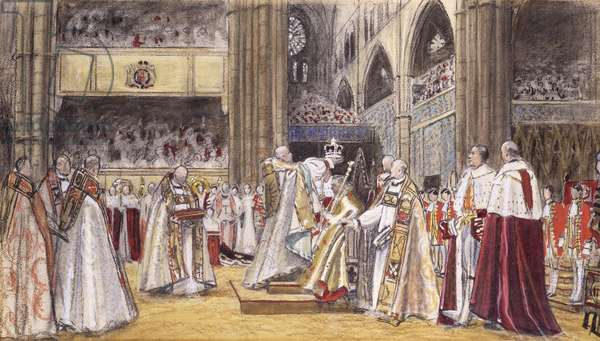 The Crowning of King George VI, 1937 (charcoal, coloured chalk and watercolour on beige paper)