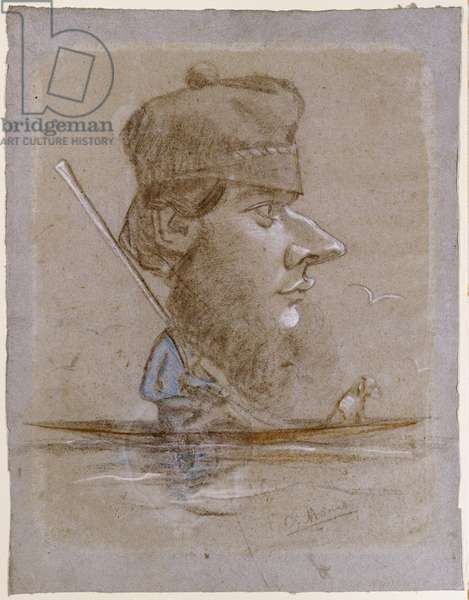 A Hunter and his Dog on a Boat, c.1858-59 (pastel on blue paper attached at the edges on board)