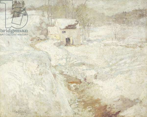 Winter Landscape, 1890's (oil on canvas tacked over panel)