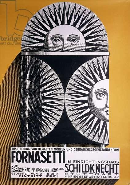 Poster for Fornasetti exhibition at Schildknecht furniture store (15 October - 2 November 1962), Stuttgart, 1962 (offset colour lithography)