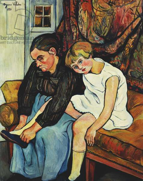 Grandmere chaussant une Fillette, 1931 (oil on canvas)