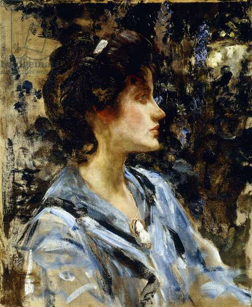 Young Woman in Blue - Miss H. Strom,  (oil on canvas)