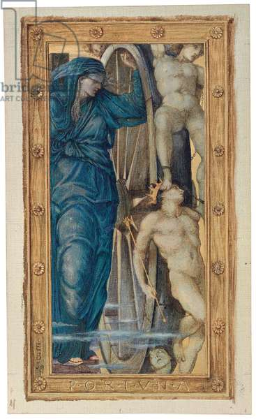 The Triumph of Love (or Amor Vincit Omnia): Fortuna (one of four panels), 1871 (watercolour and bodycolour heightened with gold on canvas, laid down on paper)