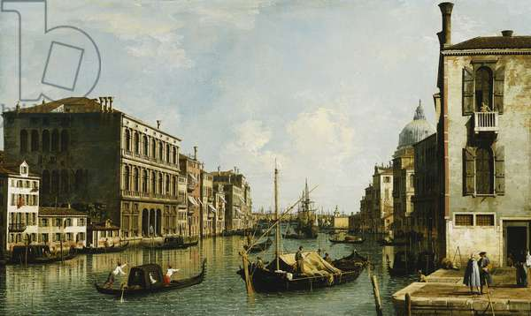 The Grand Canal, Venice, Looking East from the Campo S. Vio, (oil on canvas)