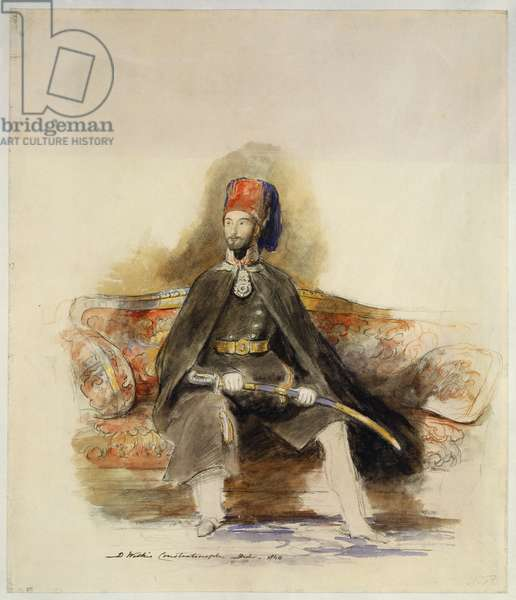 Portrait of Abd-Ul-Mejid, Sultan of Turkey, 1840 (pencil, chalk & w/c)