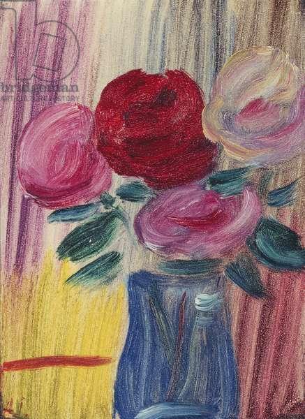 Flowers in Blue Vase; Blumen in Blauer Vase, 1936 (oil on paper laid down on the artist's mount)