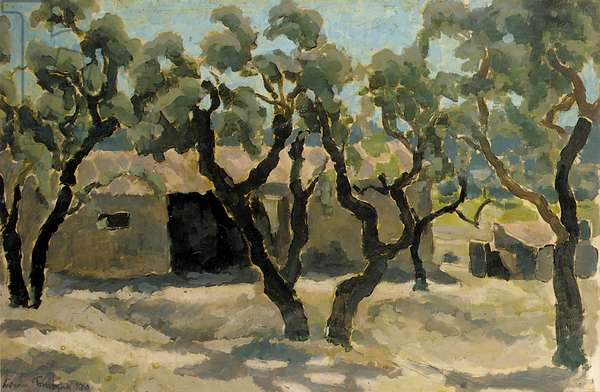 Olive Grove, 1930 (oil on paper)