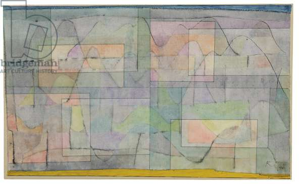 Settlement in the Hill Country; Siedelung im Hugelland, 1930 (watercolour, pen and ink on linen)