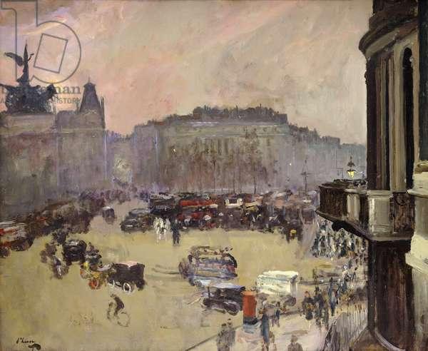 The Winter Sun, Hyde Park Corner, 1925 (oil on panel)