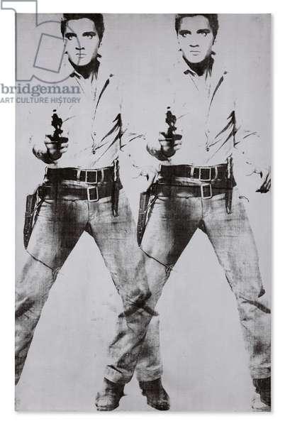 Double Elvis [Ferus Type], 1963 (silkscreen ink & silver paint on linen)