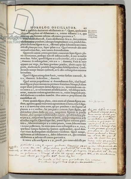 Author's own annotated copy of 'Horologium oscillatorium sive de motu pendulorum ad horologia aptato demonstrationes geometricae' by Christiaans Huygens (1629-95), Paris: F. Muguet, 1673 (printed type with marginalia in ink on paper, quarter morocco binding)