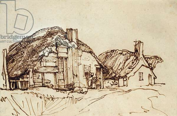 Two Thatched Cottages with Figures at the Window (pen & brown ink)