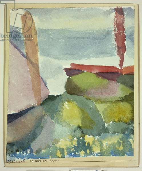 The Seaside in the Rain, 1913 (w/c on paper laid down on board)