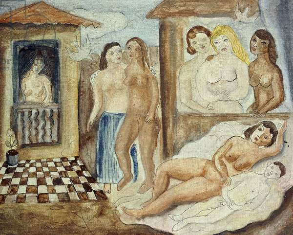 Brothel; Lupanar, 1929-1930 (oil and pen and ink on canvas laid down on board)