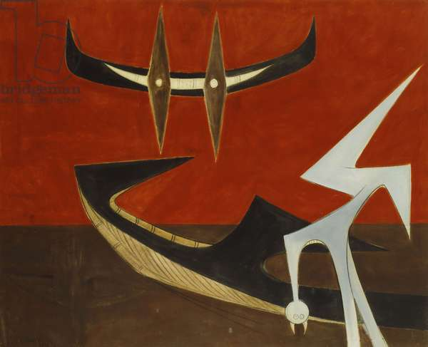 Mimetic Steps, 1951 (oil on canvas)