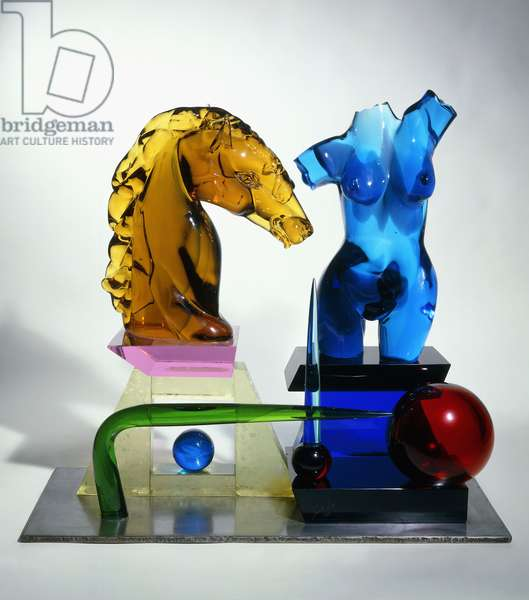 Umano Animale, a glass sculpture, 1975 (multi-coloured clear and opaque glass, polished steel base)