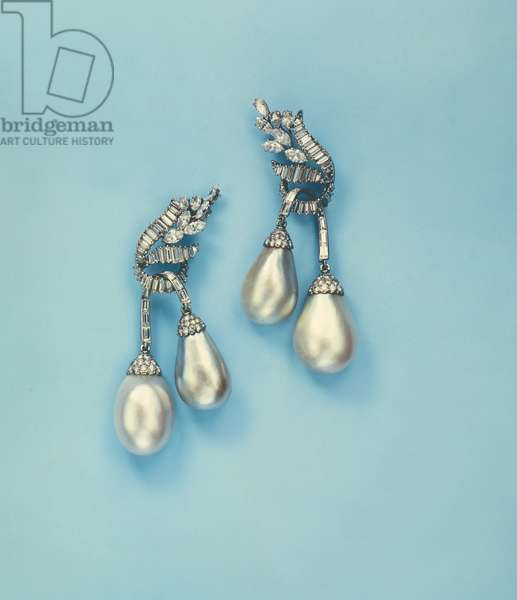 Pair of Natural Pearl and Diamond Ear Pendants