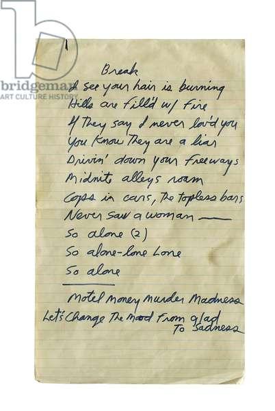 "Handwritten lyrics for ""L.A. Woman' by 'The Doors', 1971"
