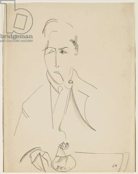 Portrait of Modigliani with pipe (charcoal on paper)