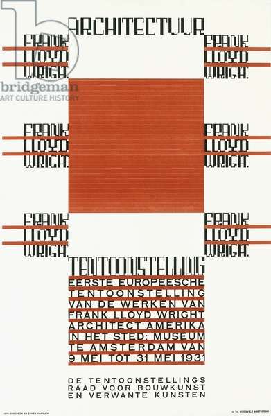 A poster announcing the exhibition of Frank Lloyd Wright's work in Amsterdam, in May 1931, c.1930 (colour lithograph)