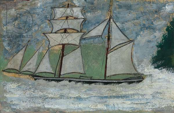 A Sailing Ship,  (pencil and oil on paper)