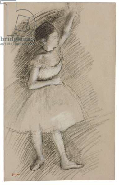 Study of a Dancer, 1873-1874 (black chalk with white heightening on paper laid down on board)