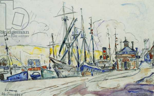 The Port at Fecamp; Le Port a Fecamp, 1930 (watercolour and pencil on paper)