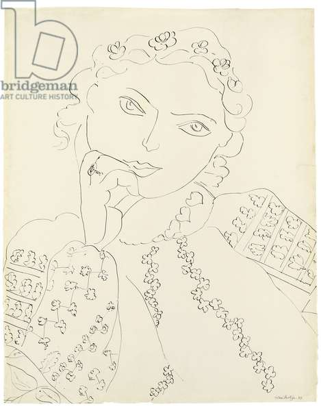 Young Girl; Jeune fille, 1937 (pen and India ink on paper)