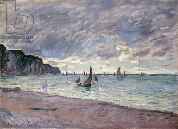 Fishing Boats in front of the Beach and Cliffs of Pourville, 1882 (oil on canvas)