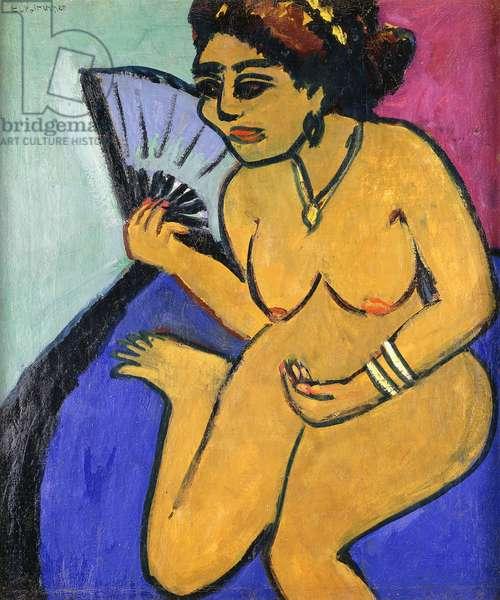 Seated Nude with Fan; Sitzender Akt Mit Facher, 1910-11 (oil on canvas)