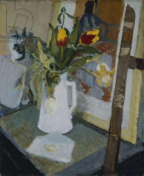 Vase of Flowers; Vase de Fleurs, (oil on canvas)
