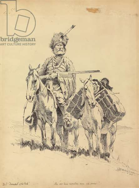 An Old-Time Mountain Man with His Ponies, 1888 (ink on paper)