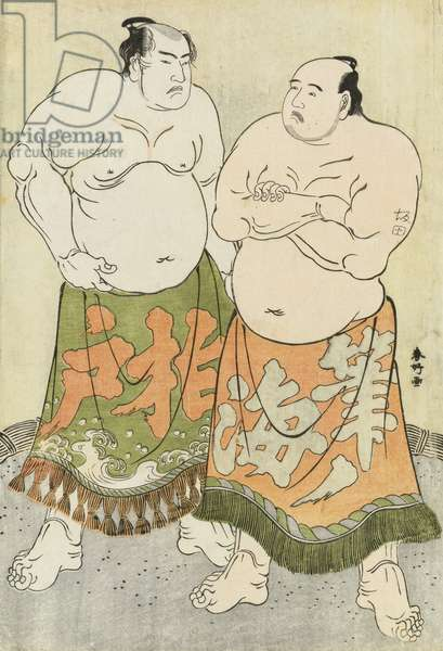 Portraits of the Wrestlers Fudenoumi and Kashiwado (colour woodblock print)