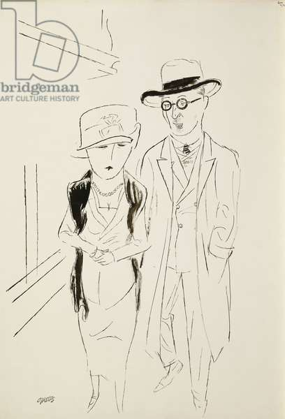 Berlin Couple; Berliner Paar, c. 1925-27 (pen and brush and black ink on paper)