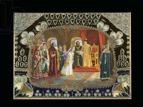 Detail of the painted cartouche from a table box, depicting Tsar Alexei Mikhailovich choosing a bride, c.1908-1917 (silver-gilt, cloisonne enamel)