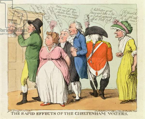 The Rapid Effects of the Cheltenham Waters, 1818 (hand coloured engraving)