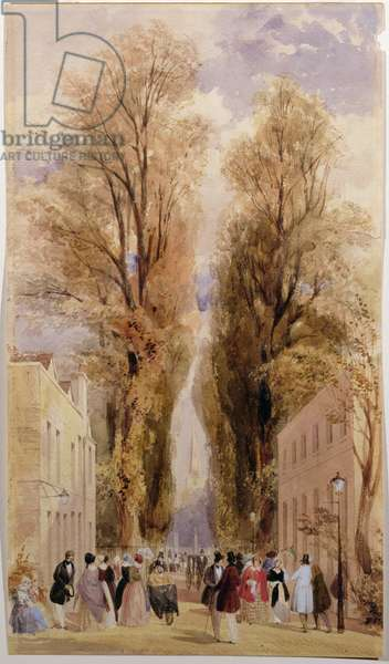 The Old Well Walk, Cheltenham, c.1840 (colour litho)