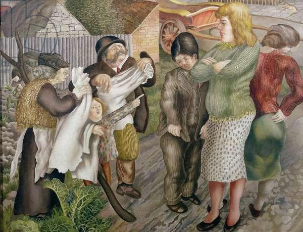 Village Gossips, Gloucestershire, 1940 (oil on canvas)