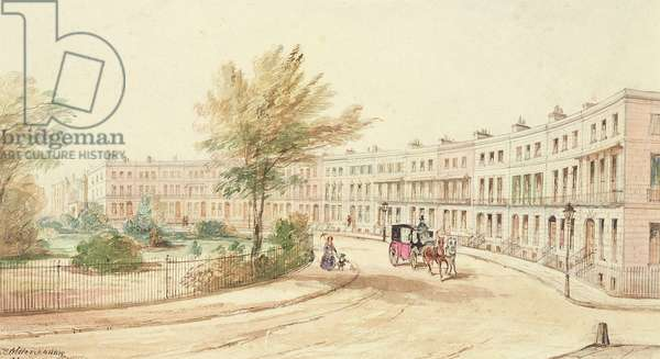 Royal Crescent, Cheltenham, c.1850 (w/c on paper)